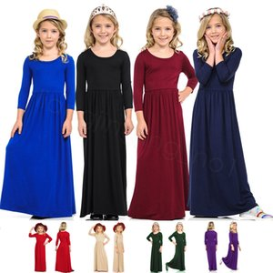 Girls Dresses Kids Solid Maxi Dresses Swing Holiday Long Dress Casual O Neck Dress Party Princess Long Sleeve Plain Clothes FFA3527