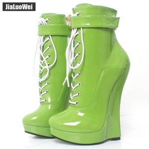 jialuowei Mulheres Sexy Fetish Super alta 18 centímetros Super Wedge Heel Pointed Toe Zipper Cross-amarrado Botas BALLET tornozelo Plus Size