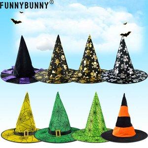 FUNNYBUNNY Cadılar Bayramı Topu Cadı Dikmeler Kabak Şapka Örümcek Web Desen Sorcerer Hat Magic Elf Parti Dekorasyon