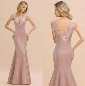 Reflexivo Mermaid Dusty rosa Evening Prom Dress Formal 2020 Sexy Backless Pescoço V Appliqued Longo vestido da dama baratos Sob $ 60 CPS1344