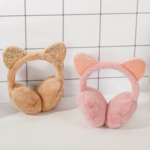 Fashion Unisex Vintage Earcap Winter Outdoor Cute Cat Ear Plush Earmuffs Shiny Sequin Soft Earflaps Headband for Kids Hats & Caps Hats, Scar