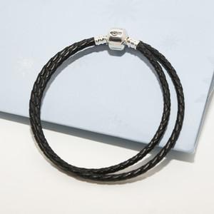 Bracelet de charme Double-cuir tressé noir Original Boîte d'origine pour Pandora 925 Sterling Sterling Designer de luxe Femmes Bracelets pour femmes