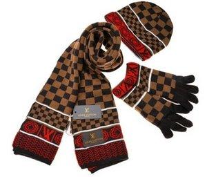 أزياء الساخن بيع جديد أزياء الشتاء والخريف الدافئة قبعة عالية الجودة كاب الرجال النساء Scated القبعات والأوشحة والقفازات مجموعات g366