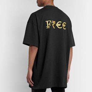 20SS VT Золотой логотип вышивки Печать с коротким рукавом высокого качества мужчины и женщины вокруг шеи лето хлопок футболки HFXHTX138