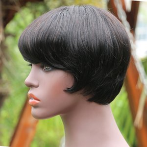 Pixie Cut Straight Short Human Hair Wig With Bangs For Black Women Cheap Non-Lace Machine Made Peruvian Remy Glueless Natural Bob Wigs