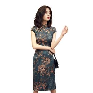 Qipao Cheongsams Kleid Chinesische Frauen Baumwolle Traditionelle Weinlese gedruckte kurze Hülsen-Kleid Cheongsam Robe Weiblich Kleider