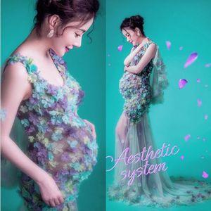 Maternità Servizio fotografico Abito lungo da donna in pizzo Abiti da maternità Abiti da doccia per bambini