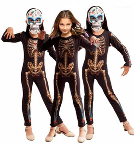White Printed Cosplay Suits Skinny Long Sleeve Unisex Jumpsuits Special Clothing Halloween Clown Theme Costume Teenager Horror