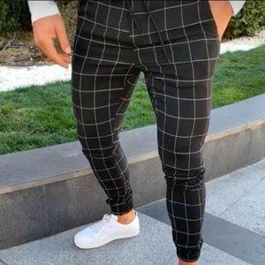 Calças masculinas 2021 marca moda xadrez twill bocador urbano hip hop harem calças casuais slim