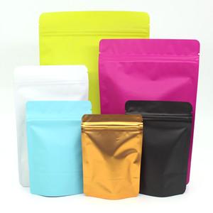 Verschiedene Größe Matte Black Gold-Aluminiumfolie aus Kunststoff Ziplock Food Storage Bag heißsiegelbaren Stand Up Zip Verschluss Paket Beutel 50pcs