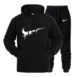 New  Tracksuit men thermal underwear Men Sportswear Sets Fleece Thick hoodie+Pants Sporting Suit Malechandal hombre S-XXXL