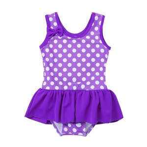 MSemis Kids Girls Swimsuit One-piece Bathing Suit Clothes Quick Dry Swimwear Polka Dots Ruffles Children's Swimming Suit