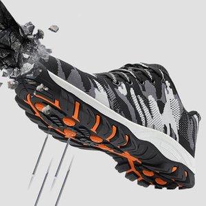 2019 Männer Arbeitsschuhe Stahlkappe Arbeitssicherheitsstiefel Männliche Camouflage-Armee-Grün Puncture Proof Boots zapatos de