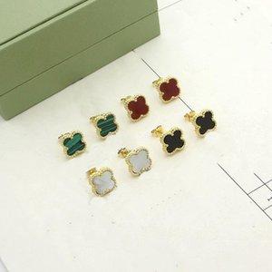 Europe America Fashion Lady Women Brass Vintage Mini Single Motif Multicolor Gemstone Four Leaf Flower 18k Gold Stud Earrings