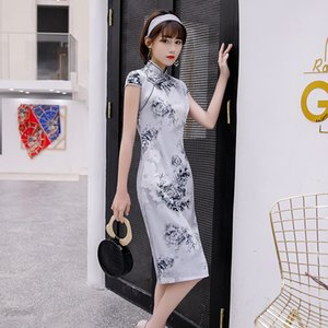 2020 split dress Chinese fashion style cheogsam silk fabric with the zipper womanliness popular designer design