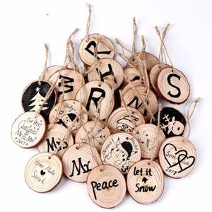 20pcs hängende Verzierungen des Weihnachtsbaums 5-6cm Runde Holz Scheibe Natur Holz-Geschenk-Umbau Weihnachtsdekorationen für Haus