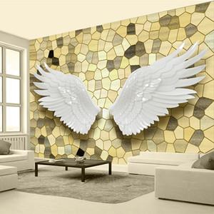 Custom Photo Wall Paper 3D Relief Alas de ángel Mosaico Mural Pintura de la sala de estar de lujo Fondo de TV Decoración para el hogar Wallpaper