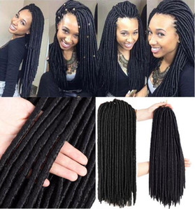 6 Packs Full Head Dreadlocks Synthetic Hair Extensions Crochet Braids Soft Faux Locs Synthetic Braiding Bomba Dreadlocks Express Shiping
