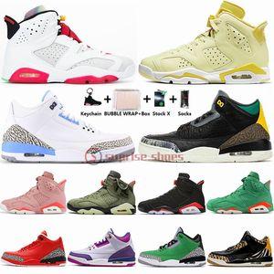 Nike Air Jordan 6 Con Box Portachiavi floreale Hare Aleali maggio 6s Scarpe Travis Scotts donne Mens Basketball 3 3s Animal Instinct 2 UNC sport esterni Sneakers