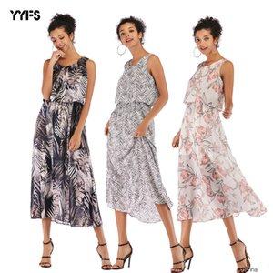 womens designer Bohemian slim knee chiffon long skirt female summer dressKGJC O1R4