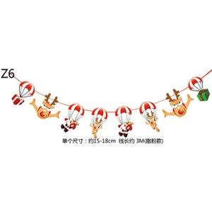 С Рождеством Флаг Banner Paper Garland Мультфильм Снеговик Санта-Клауса Xmas партия овсянка Bar Mall стены дома Висячие украшения LJJA3406-2