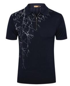 ZILLI T-shirt de manga curta de pele de cobra dos homens 2019 verão nova moda de seda com zíper padrão geométrico camisa Britânica
