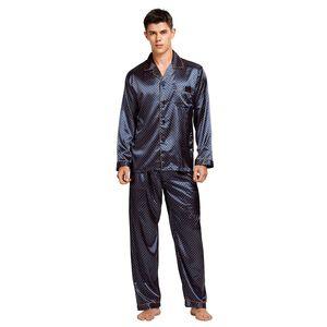 Tache de soie TonyCandice hommes Pyjama Pyjamas soie de nuit Hommes Sexy moderne Soft Style confortable satin chemise de nuit d'été