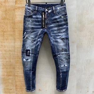 2020 New Fashion Mens ripped Jean Black Holes Designer White Stripes Jeans Hiphop Skateboard Pencil Pants