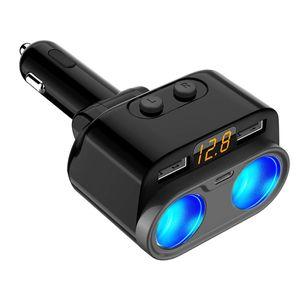 C47 coche cargadores de alta potencia de uno en dos encendedor de cigarrillos 4.8A del coche del USB cargador dual con el Tipo-C