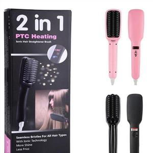 2 en 1 PTC que alisan los alisadores de pelo iónicos Cepillo plano plancha LCD Pelo que endereza el peine DHL