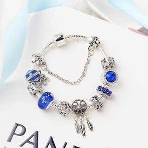925 silver fit for pandor European bracelet Blue Crystal Charm Bead Accessories DIY Wedding Jewelry gift no box for girl Christmas