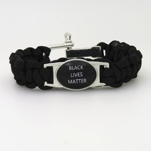 Mode-Armband Black Lives Matter Nicht schießen Ich kann nicht mehr atmen Schwarze Paracord-Freundschaftsarmbänder