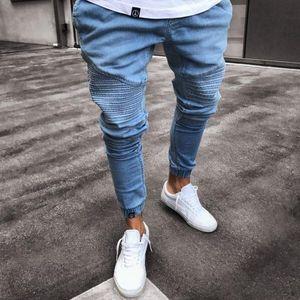 Herren Super Skinny Hellblaue Jeans Modedesigner plissiert Paneled Denim Joggers Washed Stretch Biker Bleistift Hose Hose