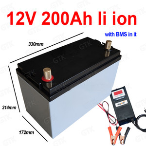 Su geçirmez 12 V 200AH Lityum İyon Pil 200Ah Li Ion BMS ile RV UPS Inverter Güneş Kök Güç Kaynağı Sepeti + 10A şarj cihazı