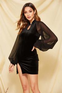Рукав платье Женщины одежда женщины конструктора Velvet платье Vintage черного Щитовые Bodycon платье Мода Тонкий Длинные