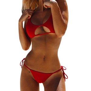 TELOTUNY Womens Swimsuits Sexy Solid Wire Free Bikini Set Push-Up Padded Low Waist Biquini Summer Swimwear Bathing Beachwear