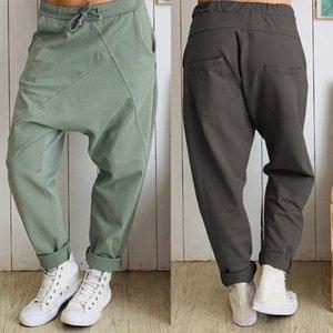Les femmes Drop-entrejambe Pantalons Avslappnad lâche taille élastique Pantalon Patchwork Taille Plus longues Pantalons Femme Streetwear
