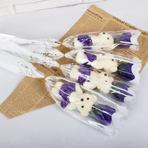 48cm artificial Jabón Rose Flores Bouquet Oso Bear único para el hogar decoración de la boda de bricolaje Material del regalo del día de San Valentín Flores falsas 5color