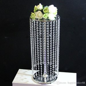 Ano Novo casamento Crystal vaso de flor Titular tabela Centerpieces Candle Holder Decoração Chrismtas metal Stand com Cristal