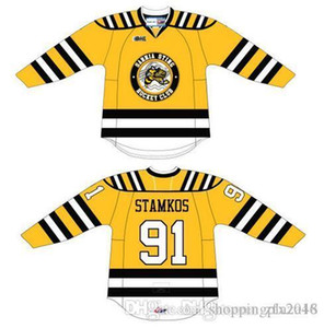 Özel CHL Sarnia Sting # 91 steven stamkos OHL Premier Otantik Hokeyi Jersey Alternatif Sarı Dikişli Logoları Özelleştirilmiş işlemeli