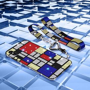 فاخر مصمم بريق حجر الراين القضية لمدة 11 برو ماكس إكسس XR X حالة كريستال القضية للحصول على هاتف اي فون 7 8 زائد 6S 6 مع الحبل