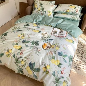 Modern bedding set,full queen king 60s cotton vintage green plant double home textile bed sheet pillow case duvet cover