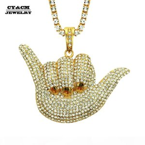 Men Iced out Gold Silver 6 Gesture Pendant Tennis Chain Rhinestone Rock Hand Charm Necklaces Hip Hop Jewelry Necklace for Women