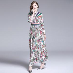 Женщины Лето с цветочным принтом плиссированные платья леди тонкий элегантный отложным воротником с длинным рукавом Урожай однобортный мода платье макси DD76211