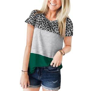 Camisas Mujer 2020 Leopard e Stripe Patchwork Womens Tops Blusas Summer manga curta Harajuku Camiseta Femme Blusas Feminina