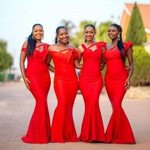 2020 Cheap Red Mermaid africana abiti da sposa fuori dalla spalla Garden Country Wedding Guest abiti cameriera d'onore Dress Plus Size