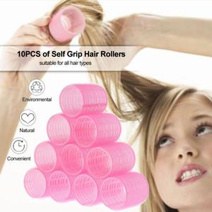 10 unids / lote auto agarre rodillos de pelo rizadores mágicos peluquero rodillo salón curling peluquero herramienta de peinado