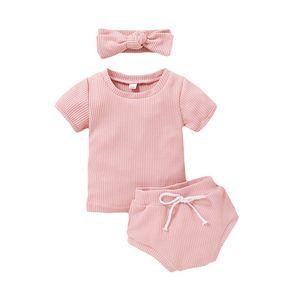 Детские короткие рукава + треугольные брюки наряды лето 2020 детская бутик-одежда 0-2T мальчики девочки домашняя одежда повседневная 2 шт комплект