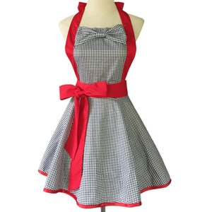 Lovely Red Retro Lady Aprons for Women Kitchen Fashion Cook Apron bow tie for Gift Chic Cotton Mother's Day Gift WQ12