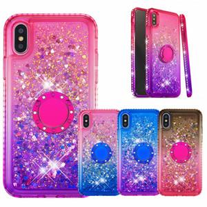 Glitter Colorful Quicksand Bling Diamond Flowing Liquid TPU Estuche lindo con soporte de anillo para iphone 7 8plus x Xr Xs Max Samsung S9 S10